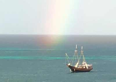 Rainbow sailboat photo